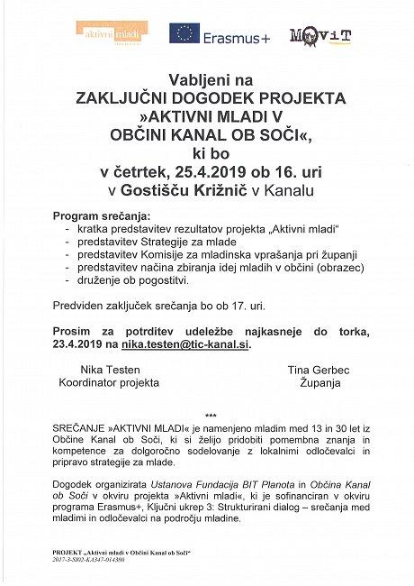 """Zaključni dogodek projekta """"AKTIVNI MLADI"""" v občini Kanal ob Soči"""