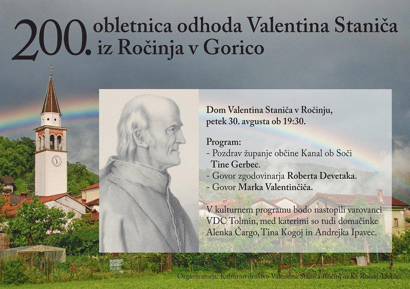 Obeležitev 200. obletnice odhoda Valentina Staniča iz Ročinja v Gorico